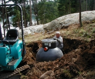 Installation of 'Moonlander' septic pump out tank. San Juan Is. WA.