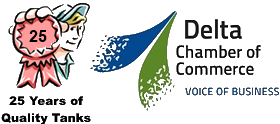 Chamber of Commerce and 25 years of quality tanks combined logo